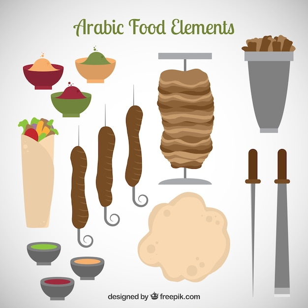 Arab food and kitchen tools Free Vector