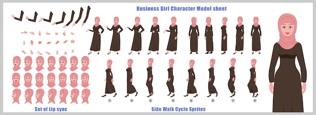 Arab girl character model sheet with walk cycle animations and lip syncing Premium Vector