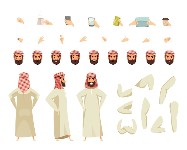 Arab man construction set Free Vector