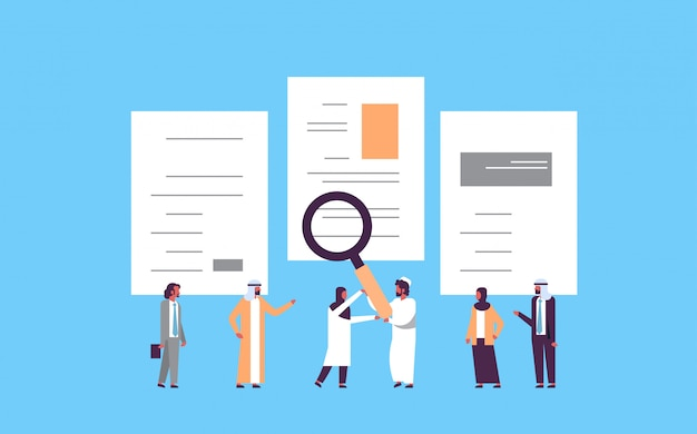 Arab man hand hold magnifying zoom cv resume arabic team | Premium ...