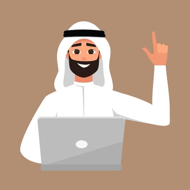 Arab man with laptop Premium Vector