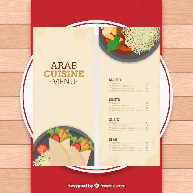 Arab menu template on a dish Vector | Premium Download