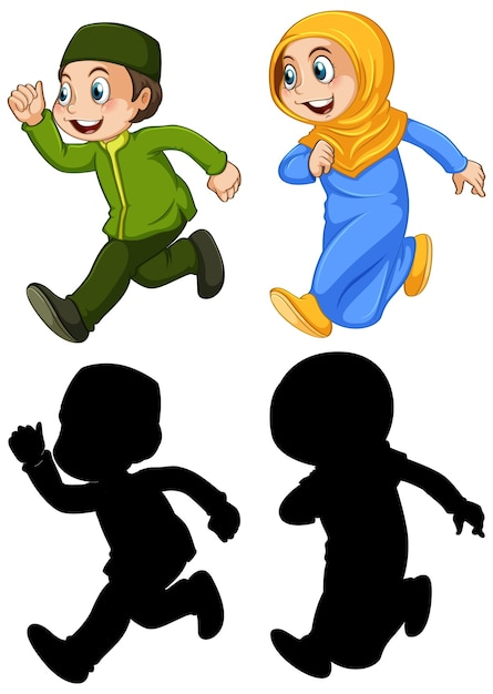 Arab muslim boy and girl in traditional clothing in color and silhouette isolated on white background Free Vector