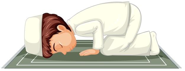 白い背景で隔離の伝統的な服で祈っているアラブのイスラム教徒の少年 無料ベクター