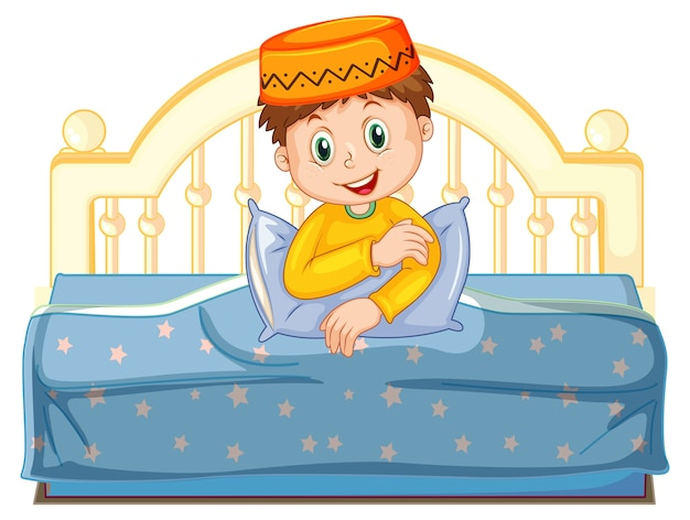 Arab muslim boy in traditional clothing sitting on a bed isolated on white background Free Vector