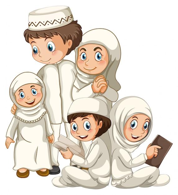 白い背景に分離された伝統的な服でアラブのイスラム教徒の家族 無料ベクター
