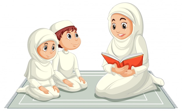 Arab muslim family in traditional clothing in praying position isolated Free Vector
