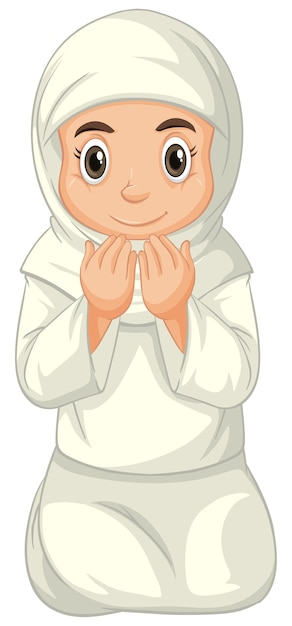 白い背景で隔離の座位を祈って伝統的な服でアラブのイスラム教徒の少女 無料ベクター