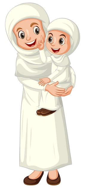 Arab muslim mother and daughter in traditional clothing isolated Free Vector