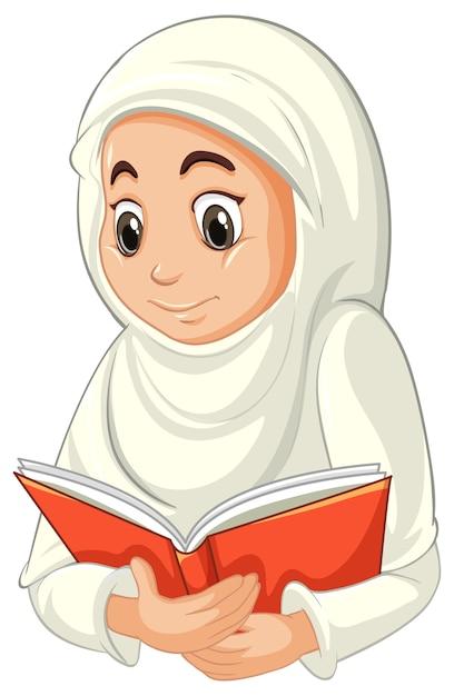 Donna musulmana araba nel libro di lettura tradizionale dell'abbigliamento isolato su bianco Vettore gratuito