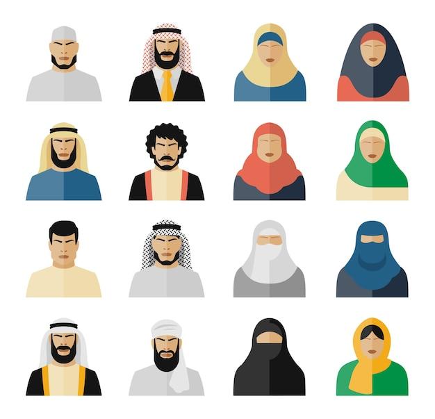 Icone della gente araba. musulmani, arabi, islamici, donne e uomini. set di illustrazione vettoriale Vettore gratuito