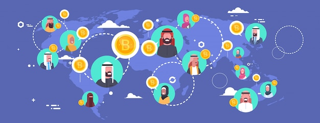 Arab people mining bitcoins over world map modern digital money network crypto currency concept Premium Vector