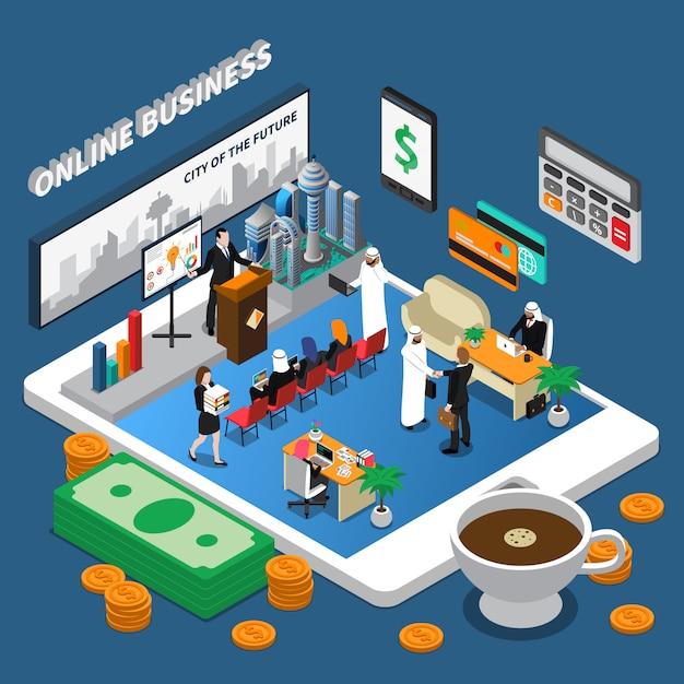 Arab people online business isometric illustration Free Vector