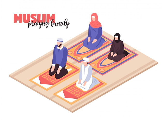 Arab people praying concept with men and women praying isometric Free Vector