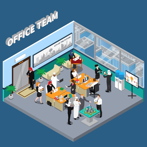 Arab persons in office isometric illustration Free Vector