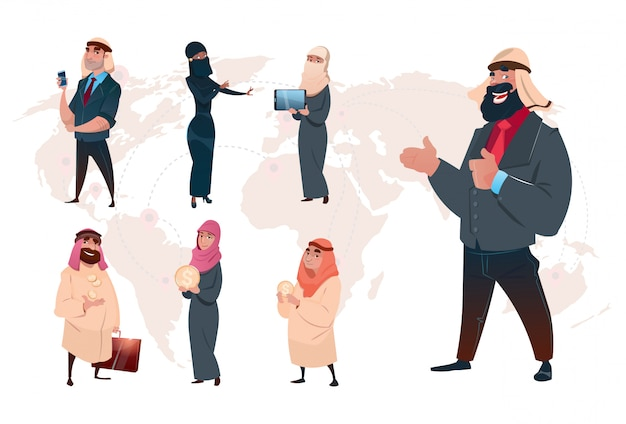 Arab saudi business man set world map background Premium Vector