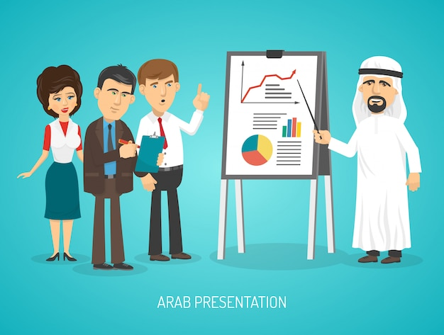 Arab in traditional arabic clothing doing presentation with flip chart Free Vector