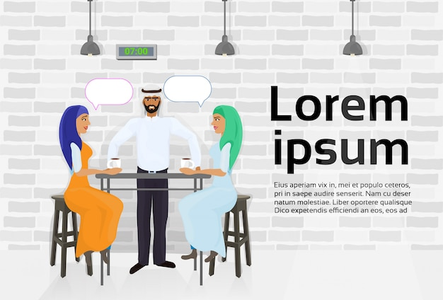 Arab waiter serving two muslim women drinking coffee in modern cafe and talking. text template Premium Vector