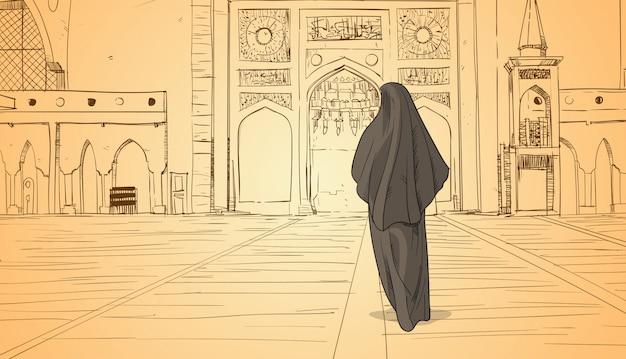 Arab woman coming to mosque building muslim religion ramadan kareem holy month Premium Vector