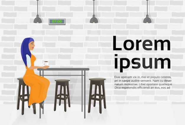 Arab woman drinking coffee in modern cafe sitting at table. text template Premium Vector
