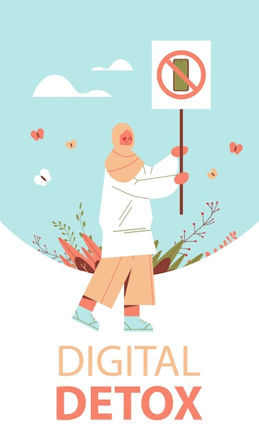 Arab woman holding banner with sign prohibiting use smartphone digital detox concept gadget in crossed-out sign vertical full length illustration Premium Vector