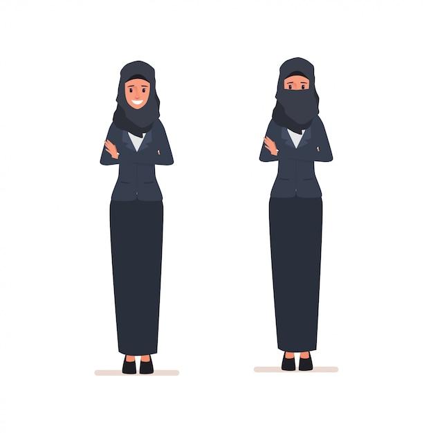 Arab women character or muslim arabian dress. Premium Vector