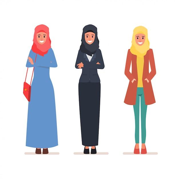 Arab women character set Premium Vector