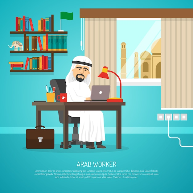 Arab worker poster Free Vector