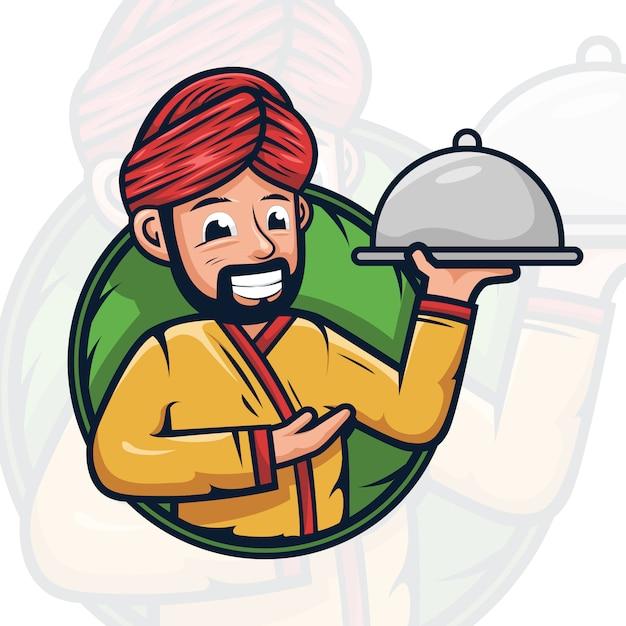 Арабский шеф-повар талисман логотип иллюстрация Premium векторы