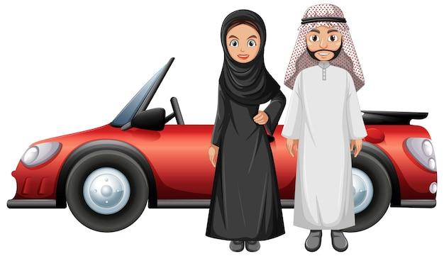 Арабская пара перед машиной Бесплатные векторы