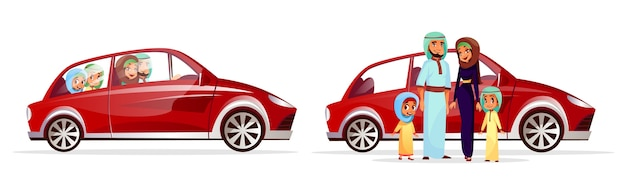 Arabian family car illustration. Cartoon Arab\ people characters of mother and father