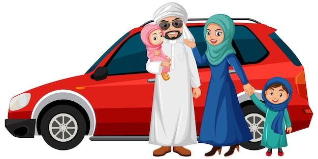 Famiglia araba in vacanza Vettore gratuito