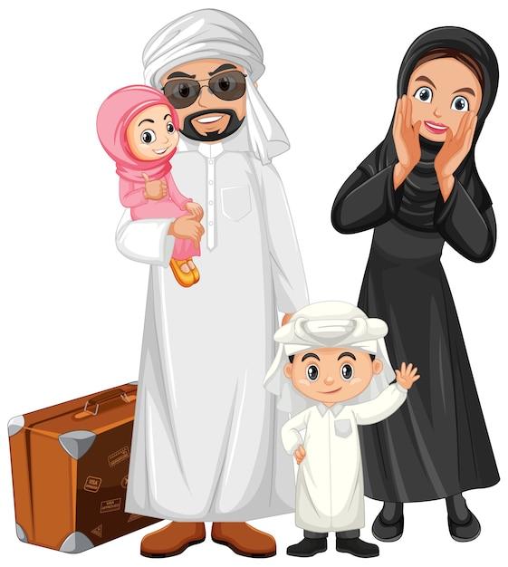 休日にアラビア家族 無料ベクター