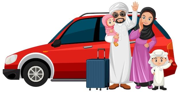 Арабская семья в отпуске Бесплатные векторы