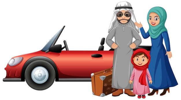 休日のアラビアの家族 無料ベクター