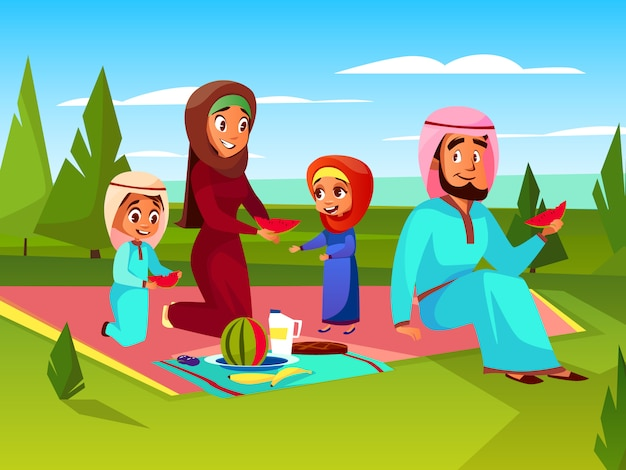 Arabian family at picnic cartoon illustration. saudi ...