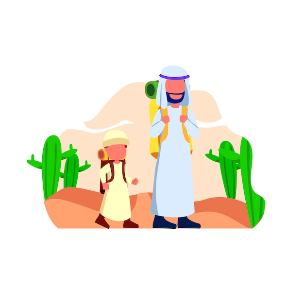 Arabian father and his son walk in desert illustration Premium Vector