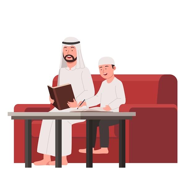 Arabian father teach his son study in home flat cartoon Premium Vector