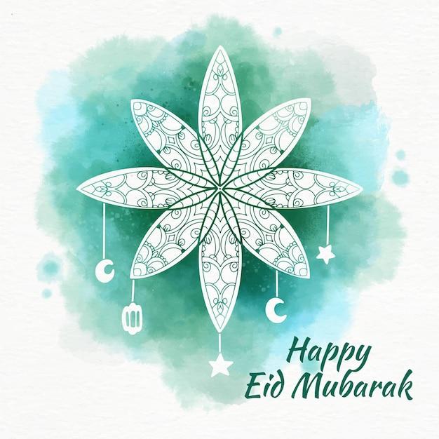 Free Vector Arabian Flower Watercolour Eid Mubarak