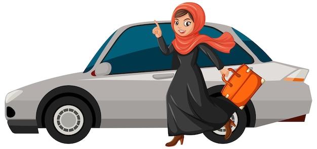 休日に行くアラビアの女の子 Premiumベクター