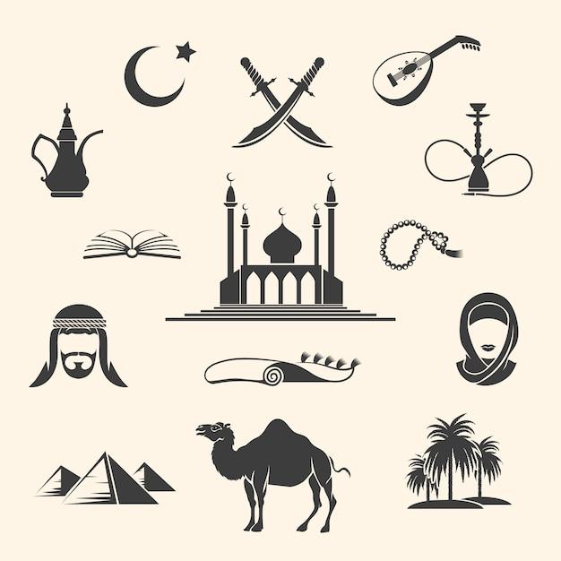 Arabian icons set Premium Vector