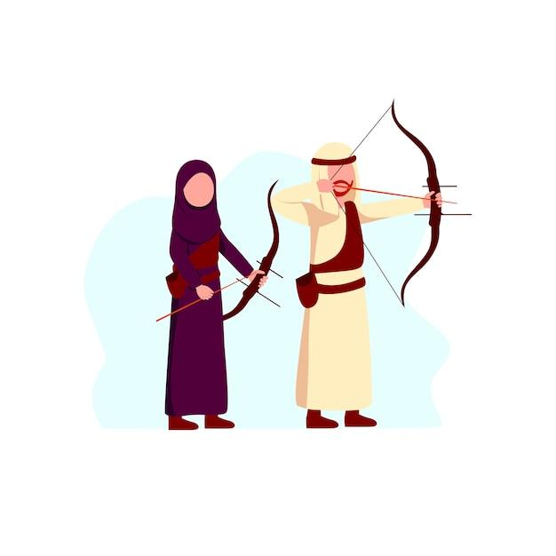 Arabian muslim man and woman sport activity archery illustration Premium Vector