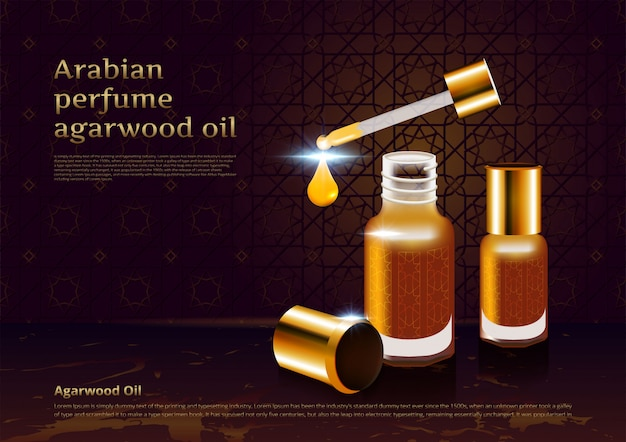 Arabian perfume agarwood oil Premium Vector