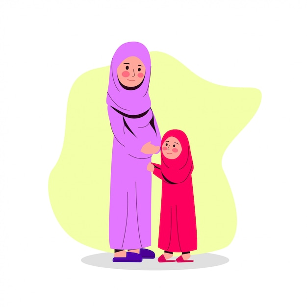 Arabian pregnant mother with her daughter flat vector illustration Premium Vector