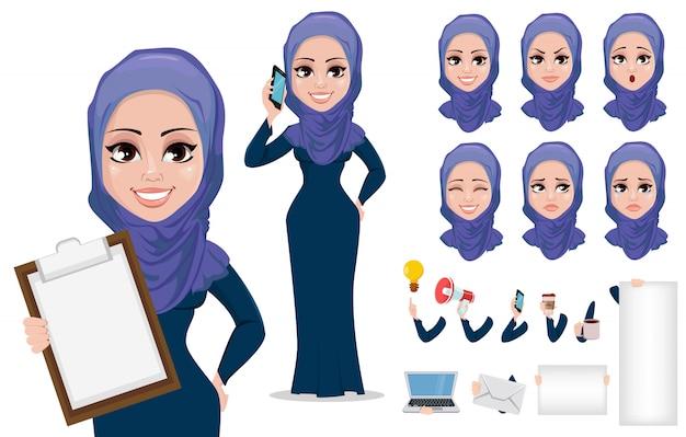 Arabic business woman cartoon character Premium Vector