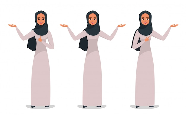 Arabic business woman presenting something with two hands Premium Vector