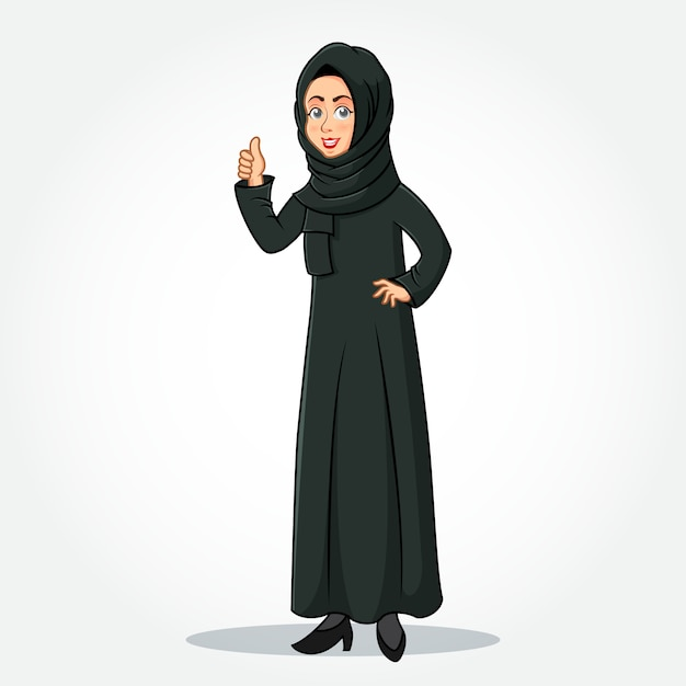 Arabic businesswoman cartoon character in traditional clothes giving thumbs up sign Premium Vector