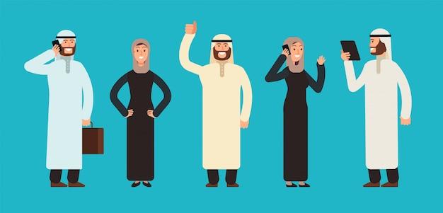Arabic businesswomen and businessmen group. Premium Vector