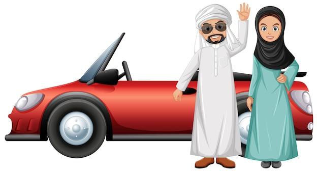 Personaggio dei cartoni animati di coppia araba Vettore gratuito