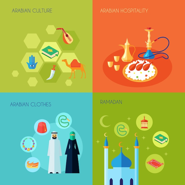 Arabic culture design concept set Free Vector